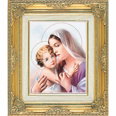 Mary with Baby Jesus under Glass w/Gold Framed Picture by Cromo N B Italy