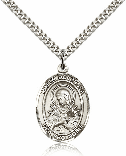 Mater Dolorosa Silver-filled Patron Saint Necklace with Chain by Bliss