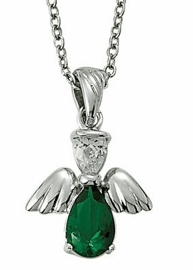 May Birthstone Angel Wing Sterling Silver Necklace