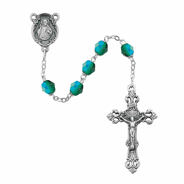 May Emerald Birthstone Crystal Prayer Rosary w/Sacred Heart by McVan