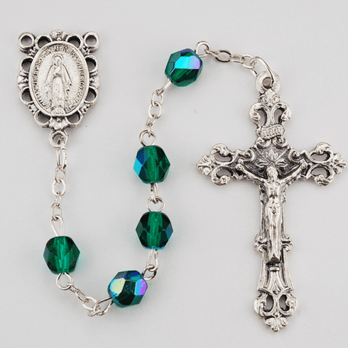 May Emerald Birthstone Crystal Prayer Rosary w/Scallop Miraculous by McVan
