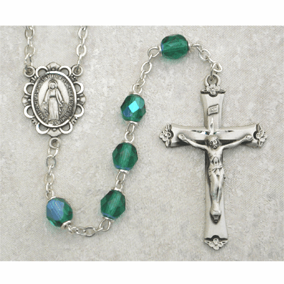 May Emerald Birthstone Crystal Sterling Silver Prayer Rosary by McVan