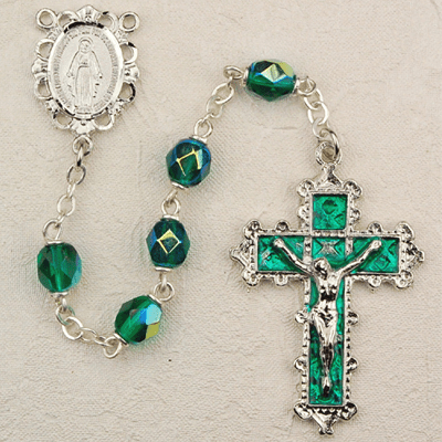 May Emerald Crystal Birthstone Prayer Rosary by McVan