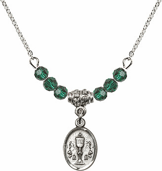 May Emerald Oval Chalice Charm Crystal Bead Necklace by Bliss Mfg