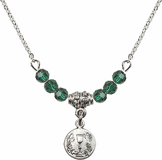 May Emerald Round Chalice Charm Crystal Bead Necklace by Bliss Mfg