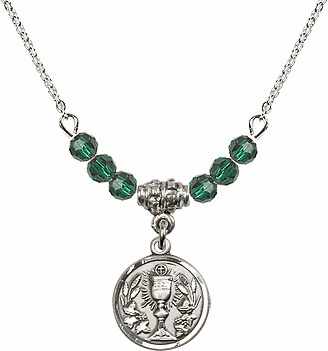 May Emerald Round Chalice Charm with 6 Crystal Bead Necklace by Bliss Mfg