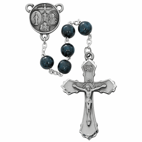 McVan 5-Way Medal Pewter Blue Wood Prayer Rosary