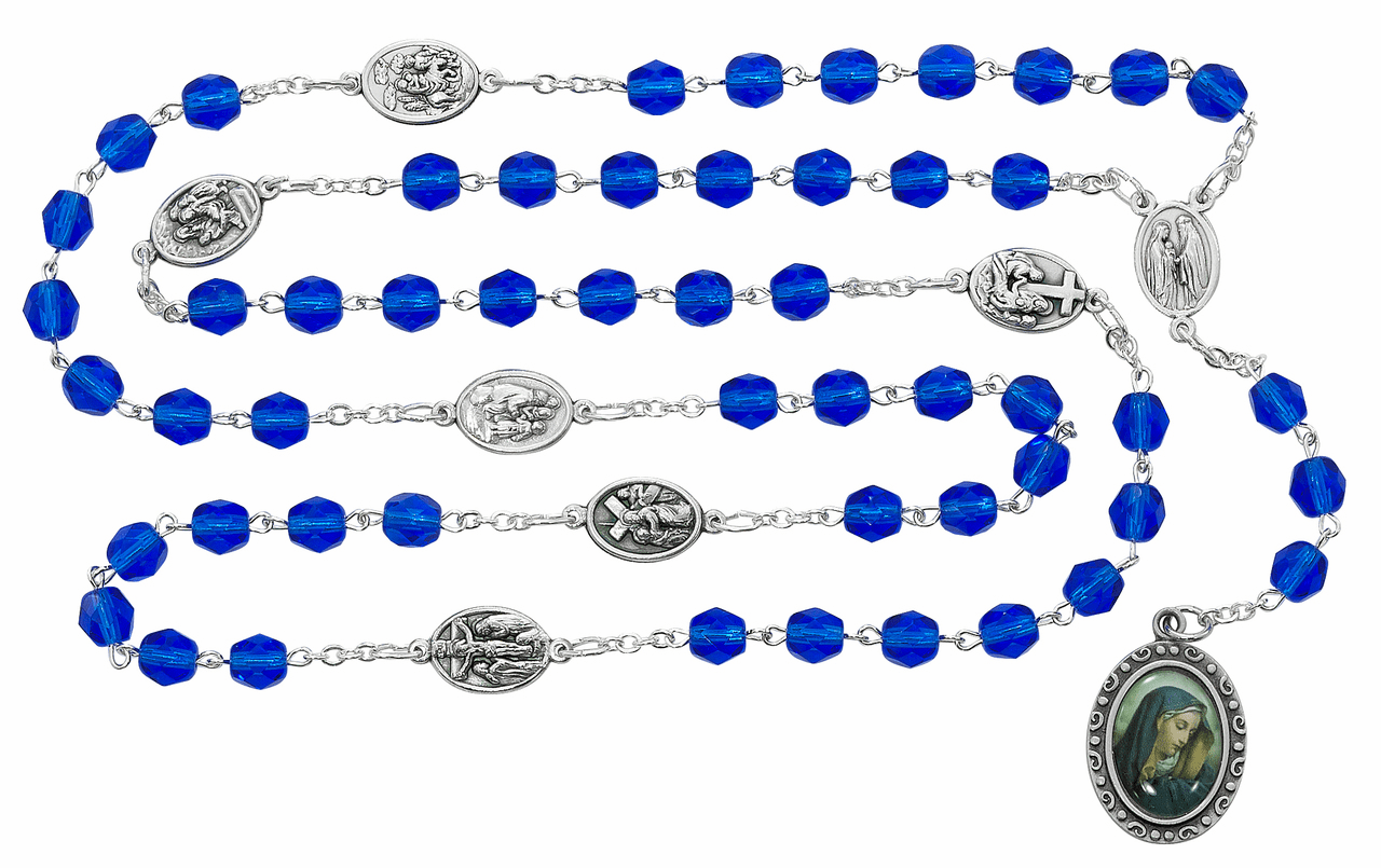 McVan 7mm Blue Glass Bead Seven Sorrows Prayer Chaplet