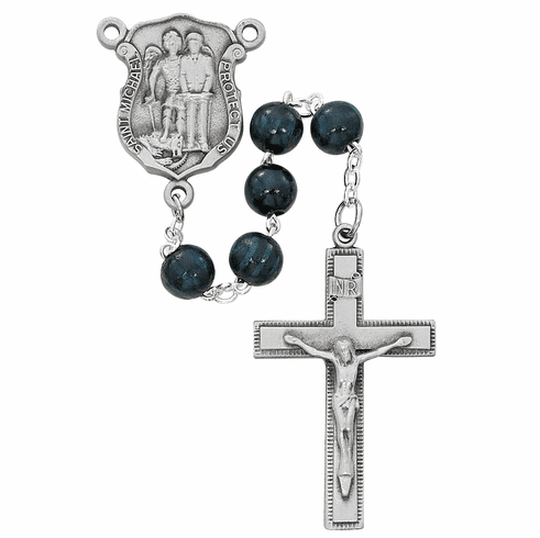 McVan 8mm Blue Wood Police Officer Prayer Rosary