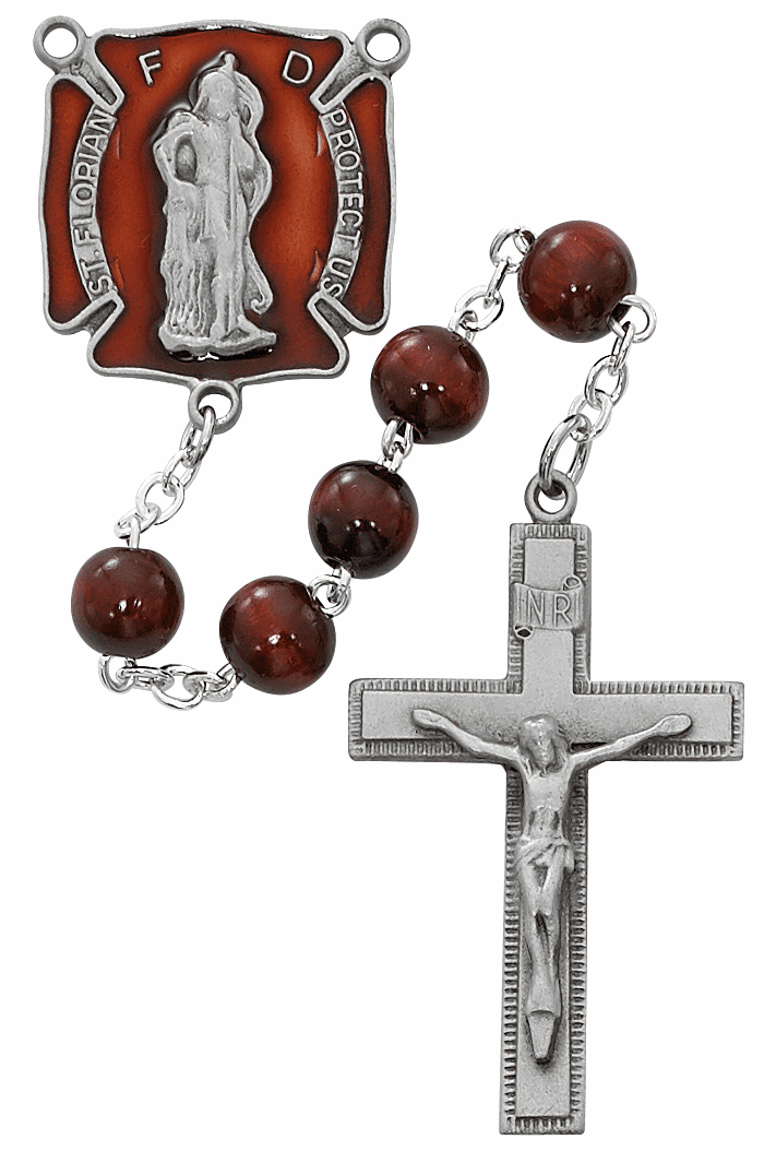 McVan 8mm Red Wood Fire Fighter Prayer Rosary