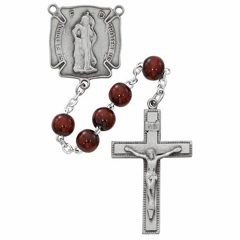McVan 8mm Red Wood Pewter Fire Fighter Prayer Rosary