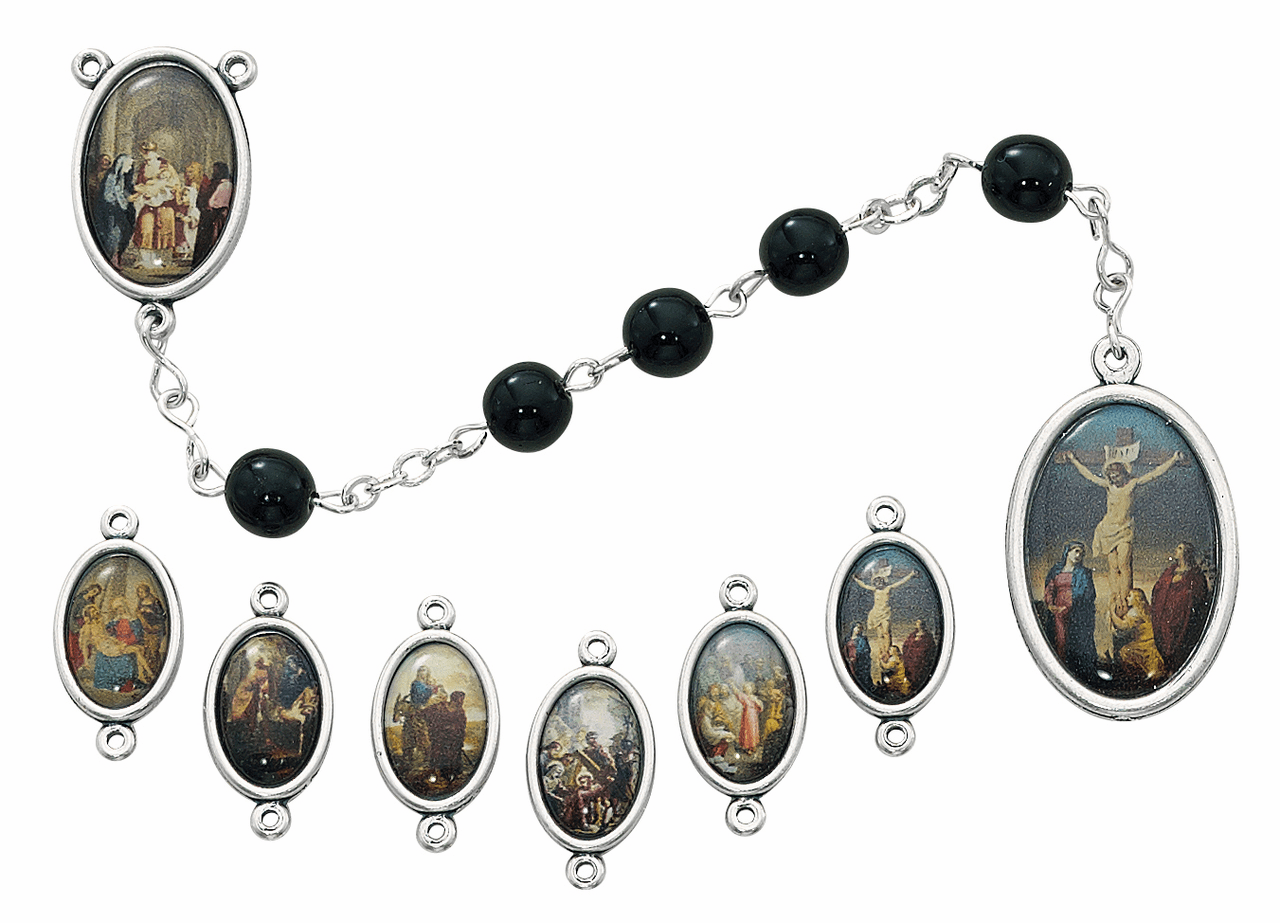 McVan Black Decal Bead Seven Sorrows Prayer Chaplet