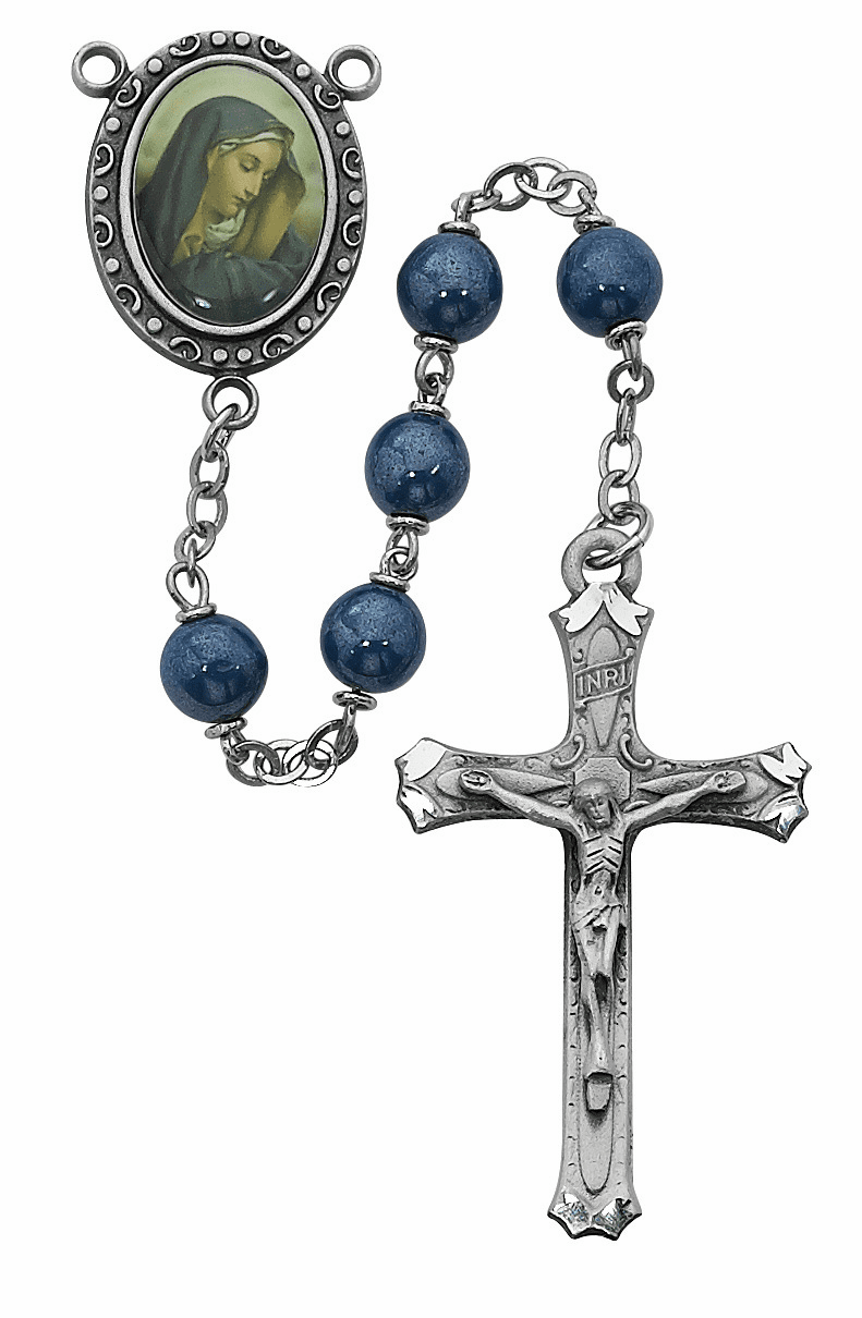 McVan Blue Decal Our Lady of Sorrows Catholic Prayer Rosary