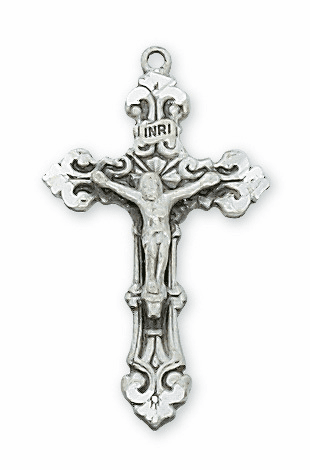 McVan Catholic Sterling Silver Fancy Detail Crucifix with Chain