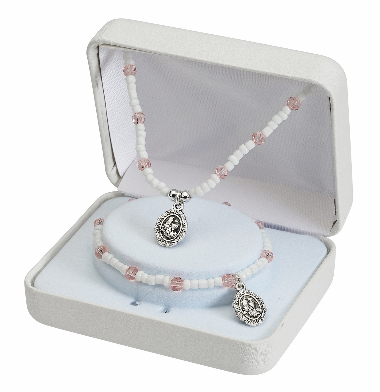 McVan Chalice Communion Pink and White Bracelet and Necklace Set