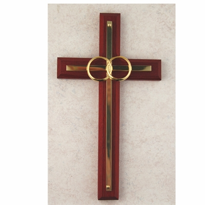 McVan Double Rings Cherry Stained Wedding Wall Cross