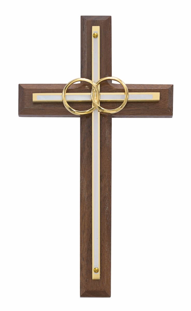 McVan Double Rings Walnut and White Wedding Wall Cross