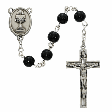 McVan First Holy Communion Pewter Chalice Black Glass Rosary