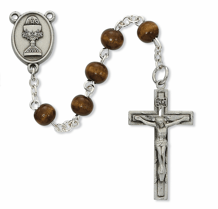McVan First Holy Communion Pewter Chalice Brown Wood Rosary