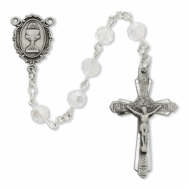 McVan First Holy Communion Pewter Chalice Crystal Rosary