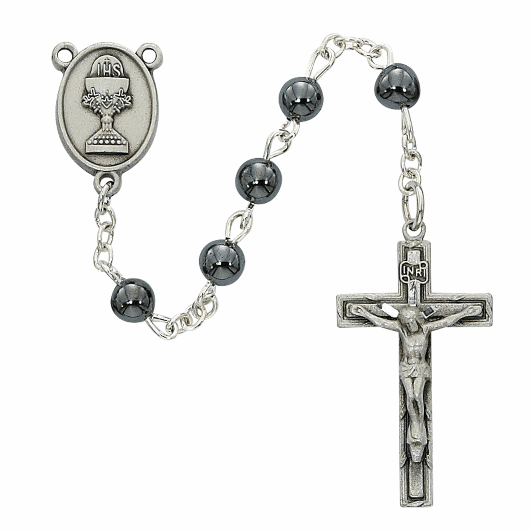 McVan First Holy Communion Pewter Chalice Hematite Rosary
