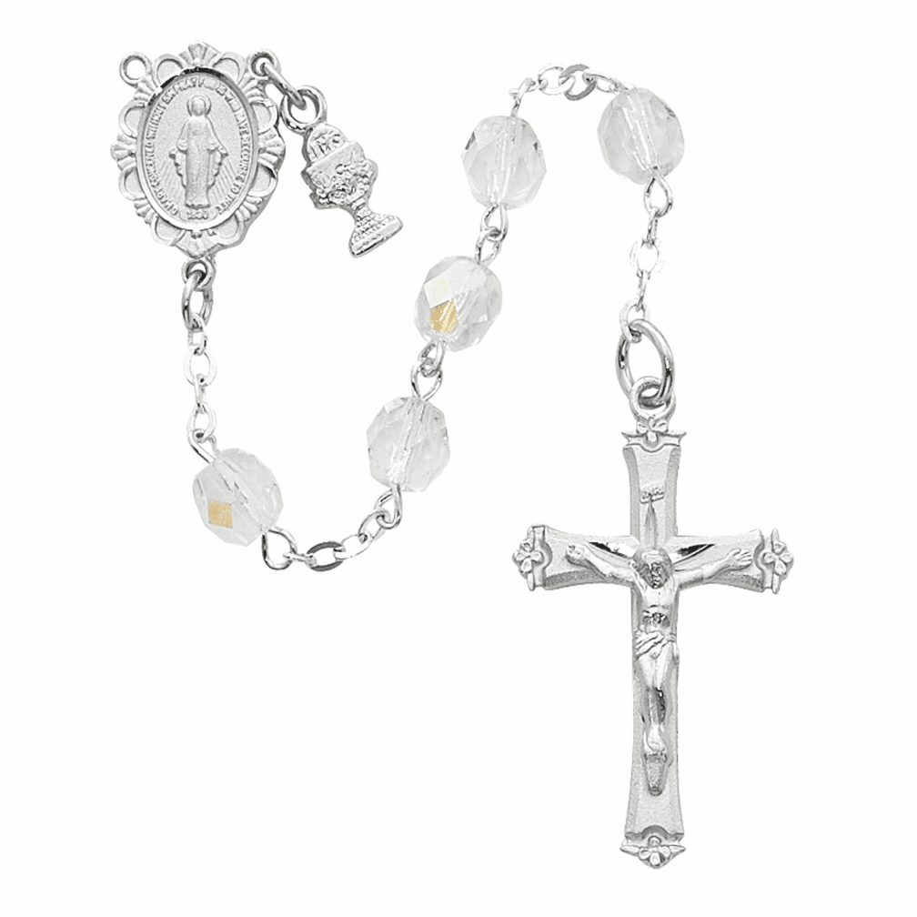 McVan First Holy Communion Rhodium-plated Chalice Crystal Rosary