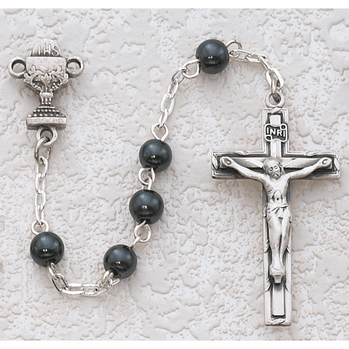 McVan First Holy Communion Rhodium-plated Chalice Hematite Rosary