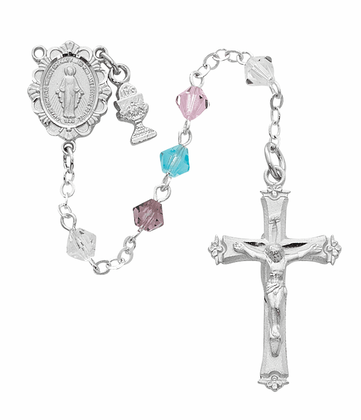 McVan First Holy Communion Rhodium-plated Chalice Multi-Color Crystal Rosary