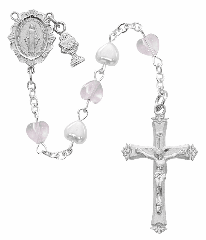 McVan First Holy Communion Rhodium-plated Chalice Pink and White Crystal Heart Rosary