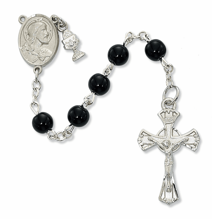 McVan First Holy Communion Rhodium-plated Sacred Heart Black Glass Rosary