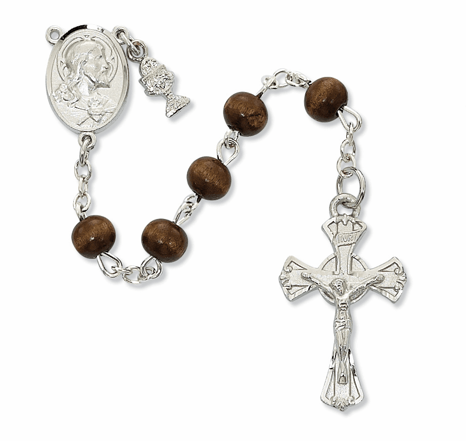 McVan First Holy Communion Rhodium-plated Sacred Heart Brown Wood Rosary
