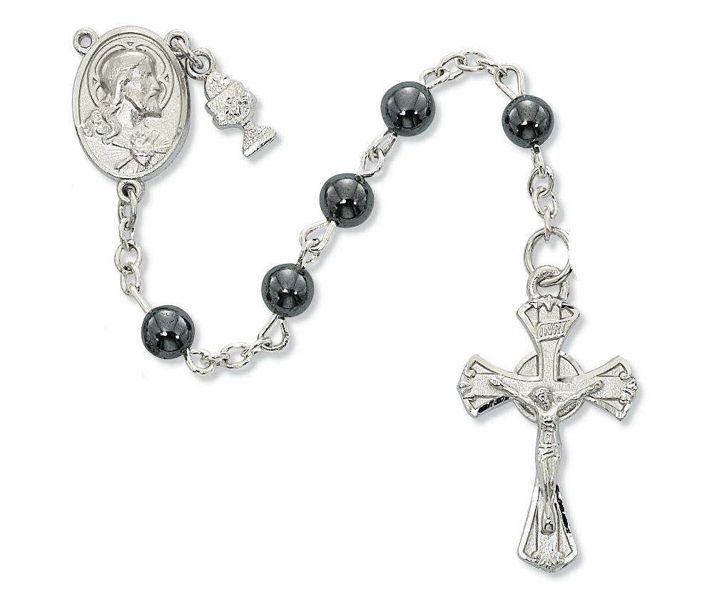 McVan First Holy Communion Rhodium-plated Sacred Heart Hematite Rosary