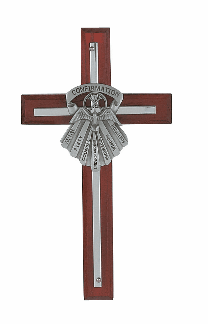 McVan Gifts of the Holy Spirit Cherry Stained Wall Cross