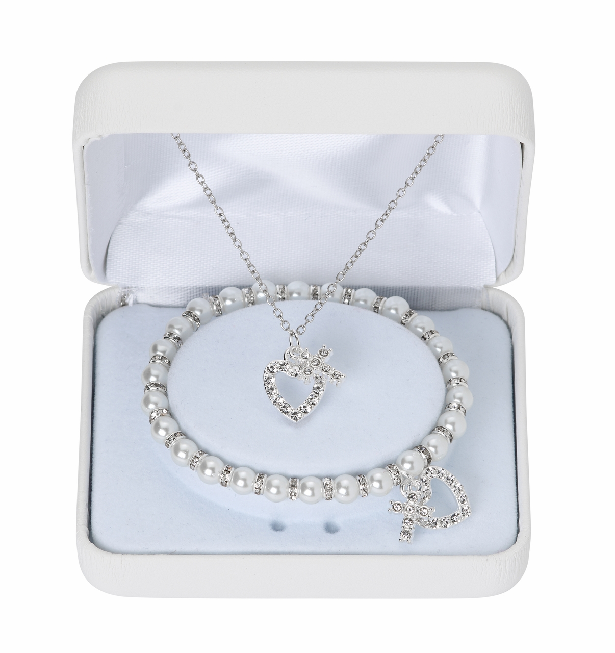 McVan Holy Communion Heart and Cross Pearl Bracelet and Necklace Set