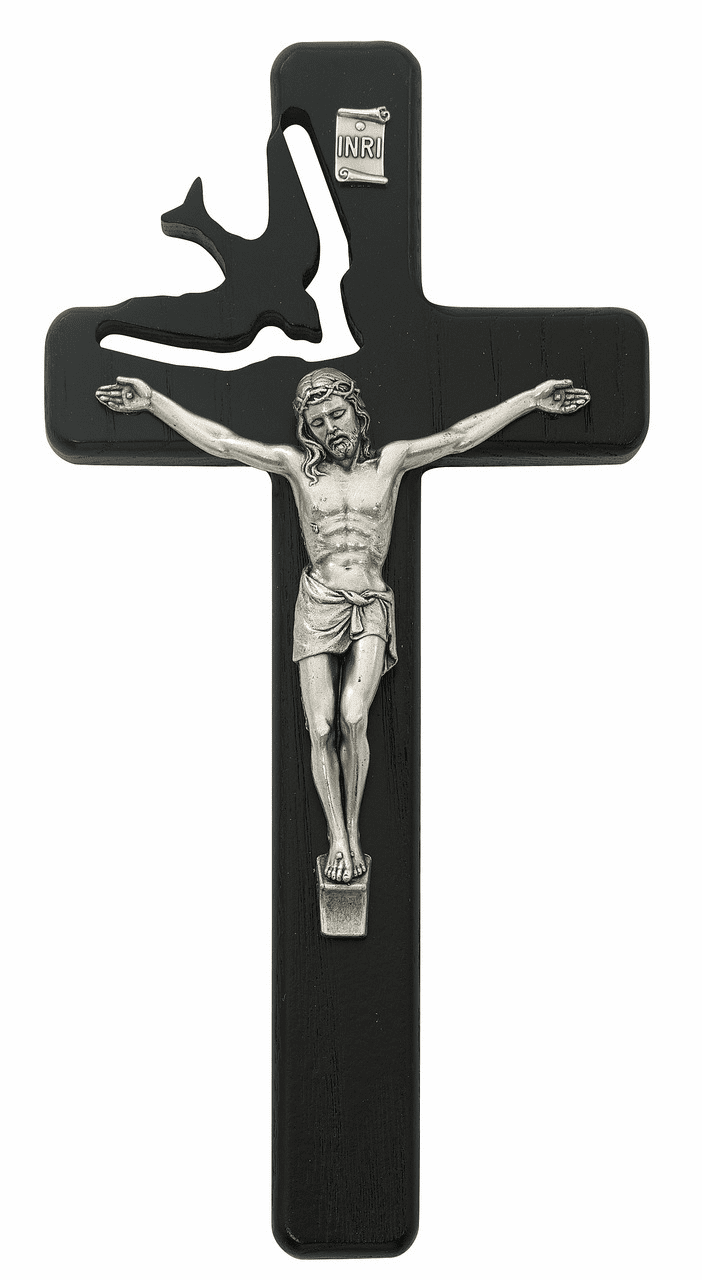 McVan Holy Spirit Cut Out Black Stained Wall Cross