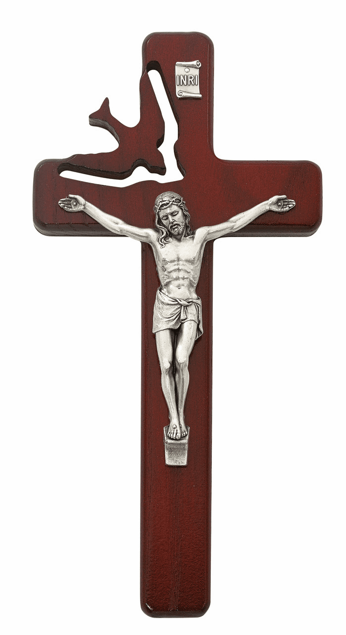 McVan Holy Spirit Cut Out Cherry Stained Wall Cross