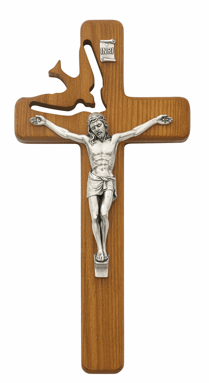 McVan Holy Spirit Cut Out Walnut Stained Wall Crucifix