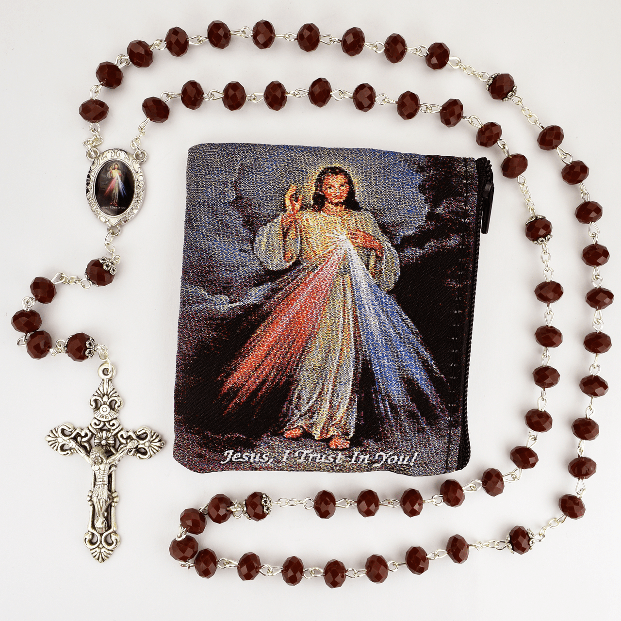 McVan Jesus Divine Mercy Crystal Red Rosary with Zip Case