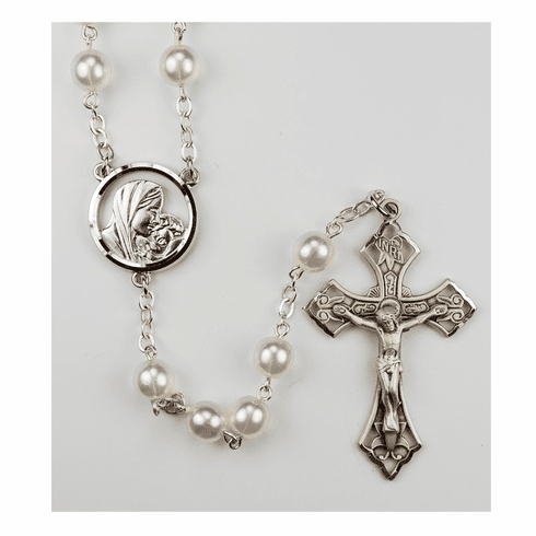 McVan Madonna and Child 7mm Faux Pearl Catholic Rosary