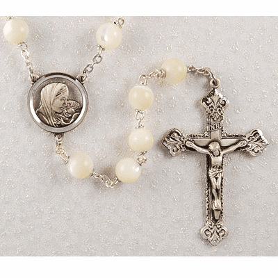 McVan Madonna and Child 8mm Mother of Pearl Catholic Rosary