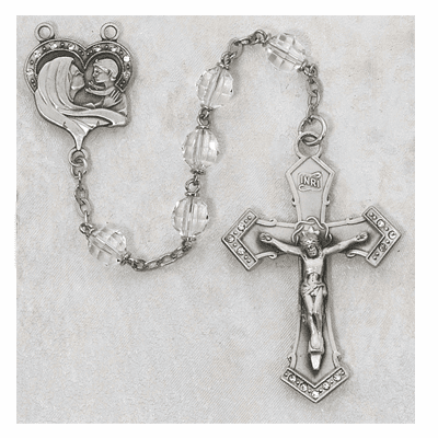 McVan Madonna and Child Clear Crystal Catholic Rosary