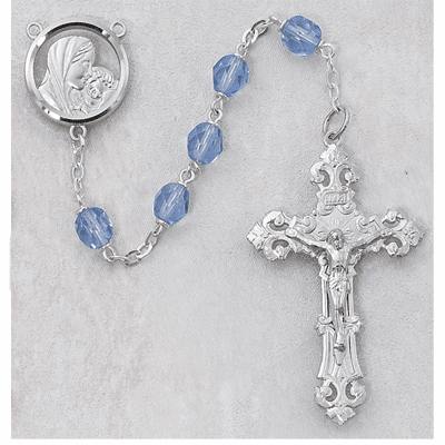 McVan Madonna and Child Jesus 7mm Blue Glass Catholic Rosary