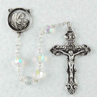 McVan Madonna and Child Jesus 7mm Tin Cut Crystal Catholic Rosary