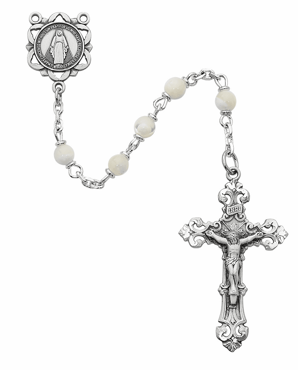 McVan Miraculous Medal 4mm Mother of Pearl Catholic Rosary