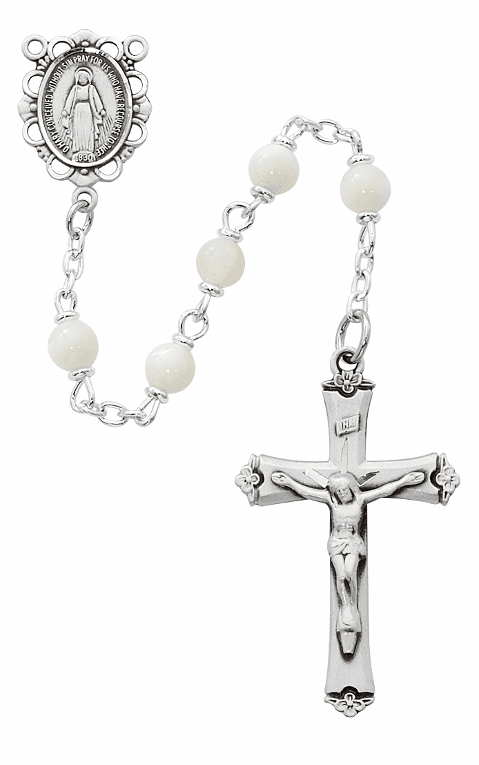 McVan Miraculous Medal 5mm Mother of Pearl Catholic Rosary