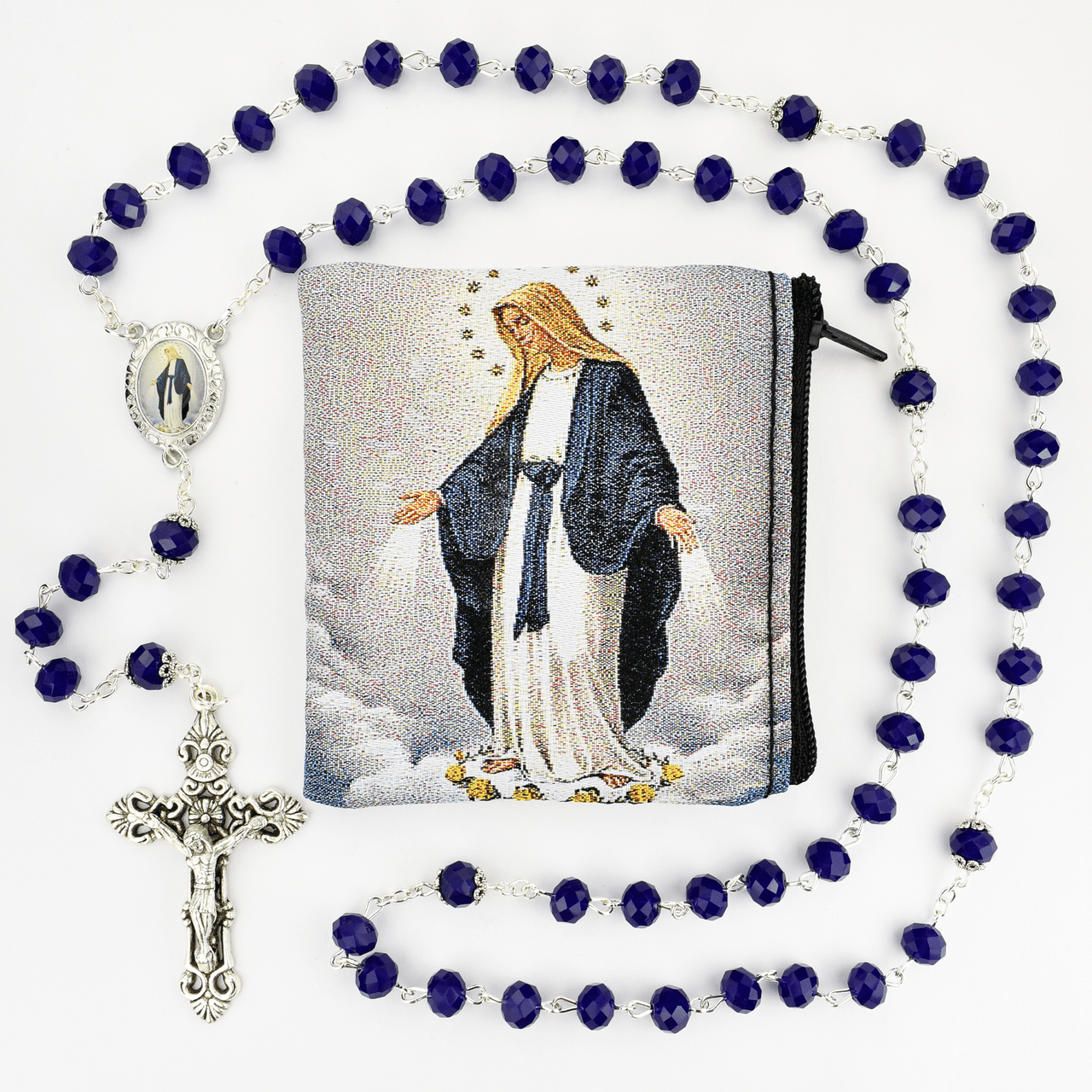 McVan Miraculous Medal Crystal Blue Rosary with Zip Case