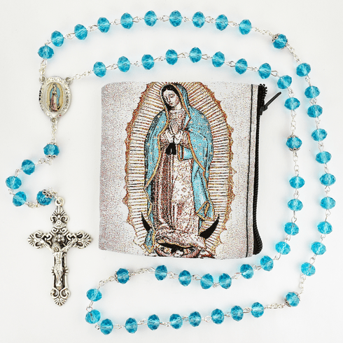 McVan Our Lady of Guadalupe Crystal Aqua Rosary with Zip Case