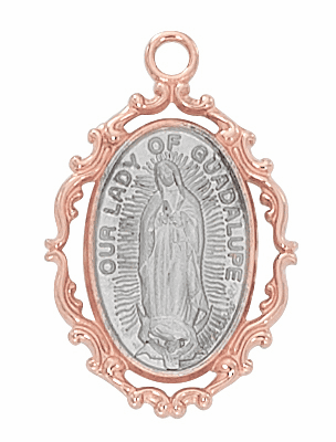 McVan Our Lady of Guadalupe Rose Gold Plated Border with Sterling Silver Medal Necklace