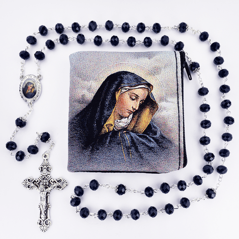 McVan Our Lady of Sorrows Crystal Blue Rosary with Zip Case