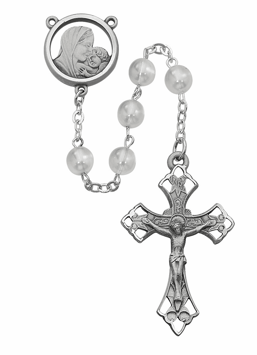 McVan Pewter Madonna and Child Jesus 7mm White Glass Catholic Rosary